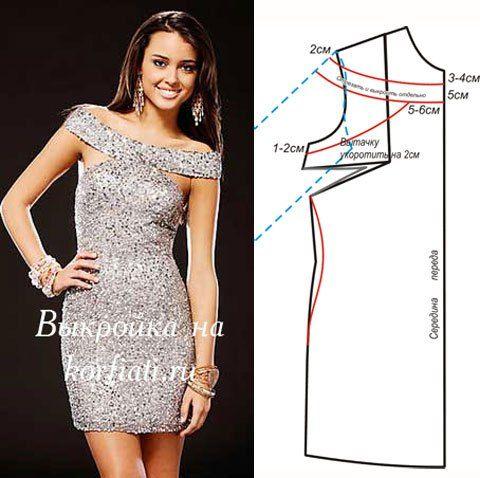 Off shoulders dress, pattern instructions