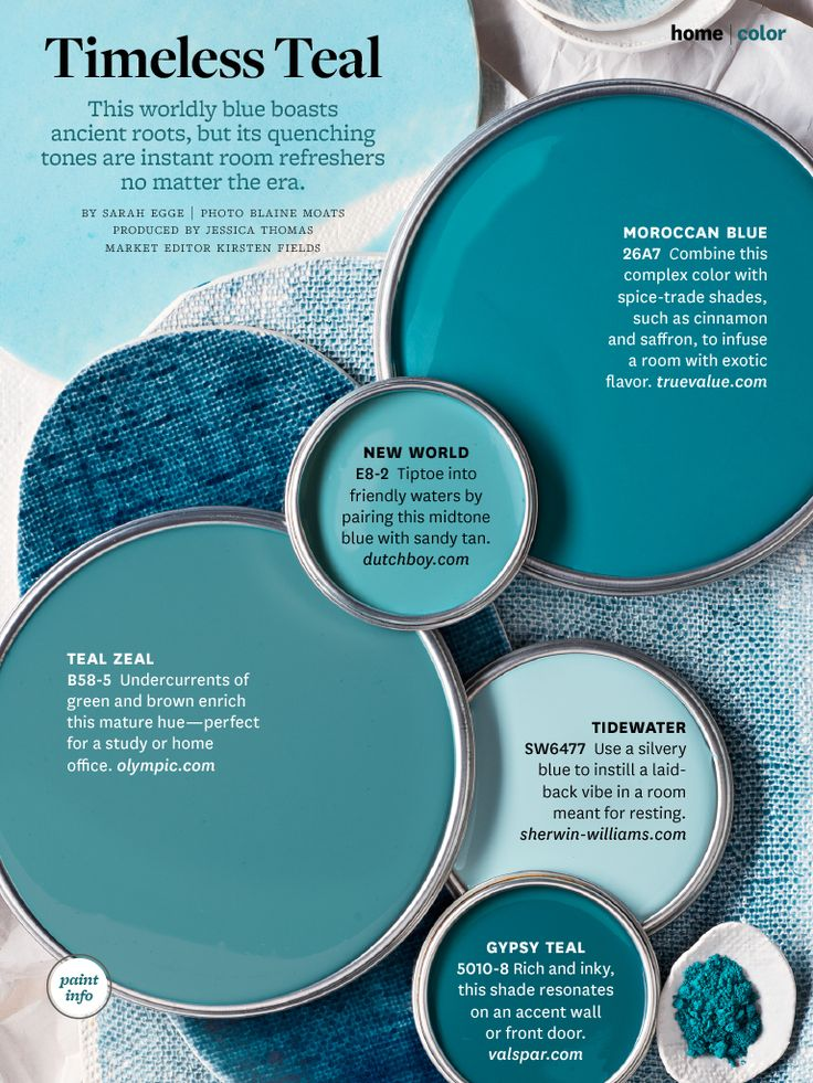 Shades of Teals--watery hues for coastal decor color schemes