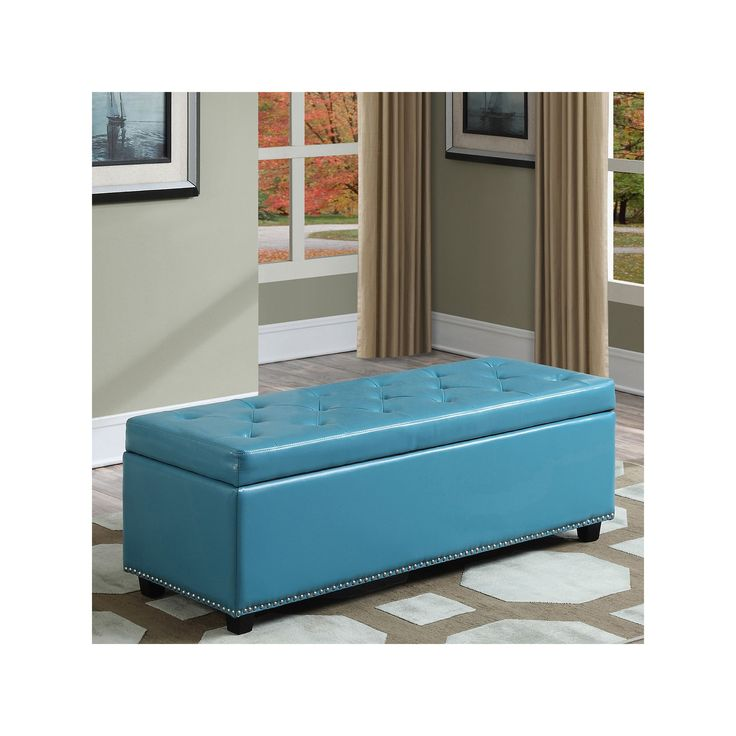 Simpli Home Hamilton Faux-Leather Storage Bench, Blue