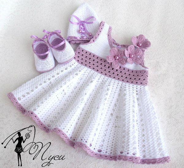 """Платье очень нежное,славные цветы-для маленькой принцессы на конкурс красоты. [   """"Croche pro Bebe: Little dresses of child crochet, found the net, gorgeous +"""",   """"White dress and purple girl, strapless flowered and closed by a satin ribbon--Can"""