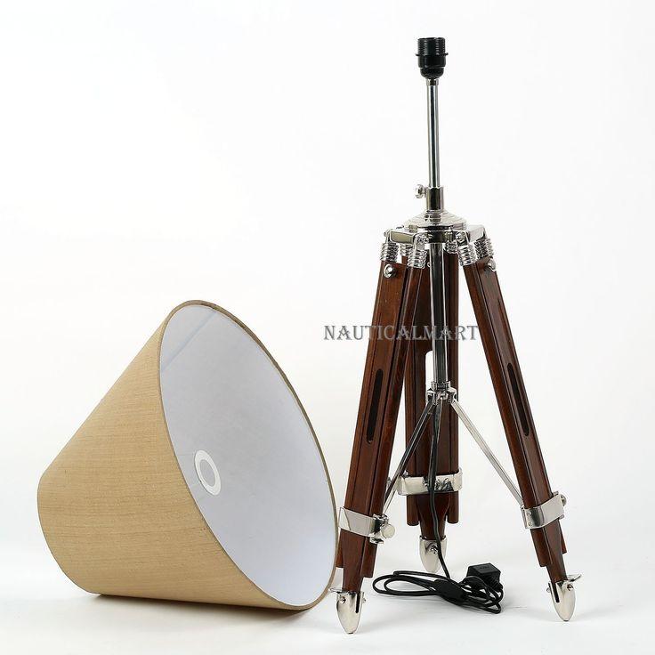 Handwoven Fabric Brown Shade Dark Brown Wooden Tripod Floor Lamp By NauticalMart: Amazon.co.uk: Lighting