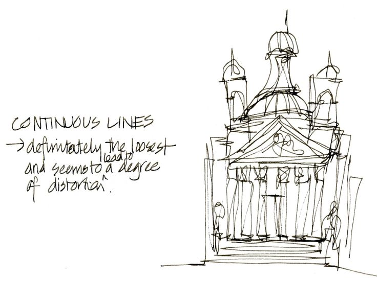 Line Art Building : Continuous line drawing architecture layering