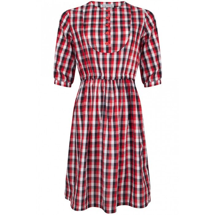 Roundneck dress Red/white/black Gingham - Very Cherry Clothing - Merken