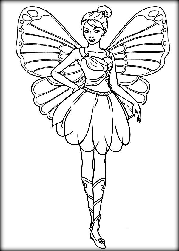 Barbie Mariposa Coloring Pages Patterns Fairy Coloring