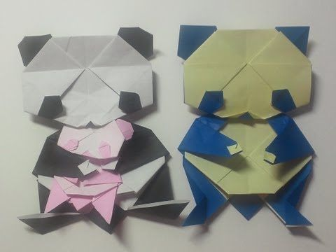 ハート 折り紙:折り紙パンダ顔折り方-jp.pinterest.com