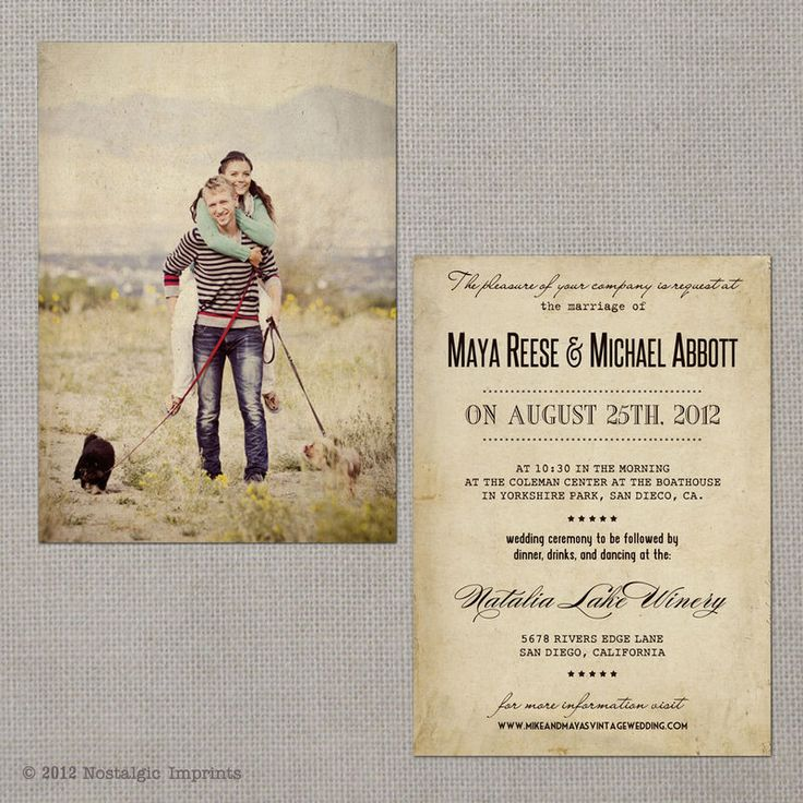 Vintage Wedding Invitation Maya set 3