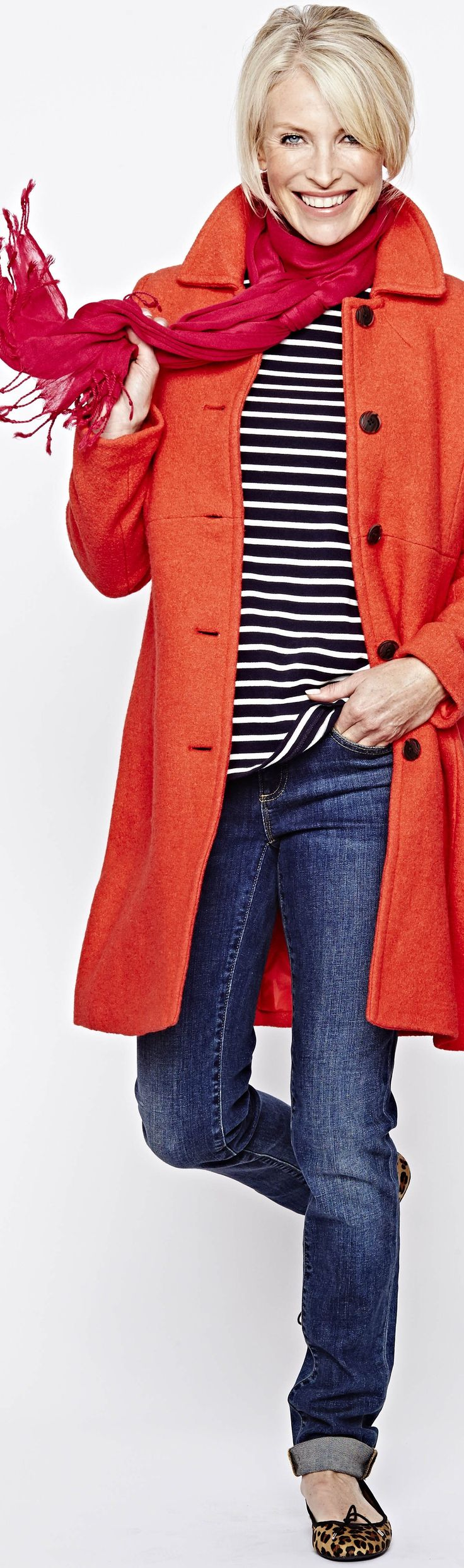 red-orange coat with berry pink scarf - http://www.boomerinas.com/2013/07/03/what-is-your-fashion-style-preppy-classic-or-boho/