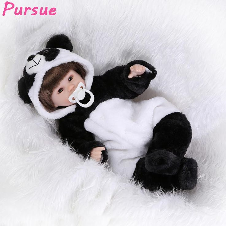 (66.73$)  Watch now  - Pursue 16 inch 42cm reborn babies Cotton Body Silicone Limbs Panda boneca american girl bebe reborn menina de silicone menina