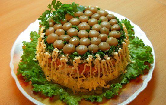 Рецепты салатов «Грибная поляна» с ветчиной, секреты выбора
