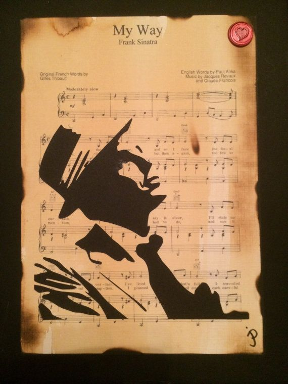 Frank Sinatra Hand cut silhouette artworkon My by Inmyheartdesigns