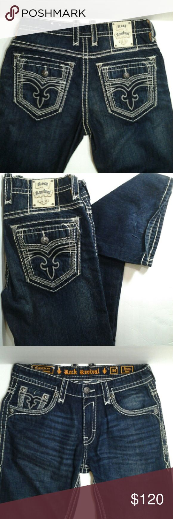 Men Rock Revival Bruno Jeans Men Rock Revival Bruno Jeans designed in USA.... Relaxed fit jean... stretch fabric embroidered faux flap on back pockets ( NWOT ) NEW NEVER WORN!!!  Priced to Sale... Will Except Fair & Reasonable Offers. .. Savings of $39... Rock Revival Jeans Relaxed