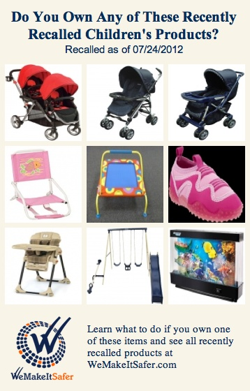 Recently recalled children's products, including strollers, beach chairs, high chairs, swing sets & more. See the rest at http://WeMakeItSafer.com