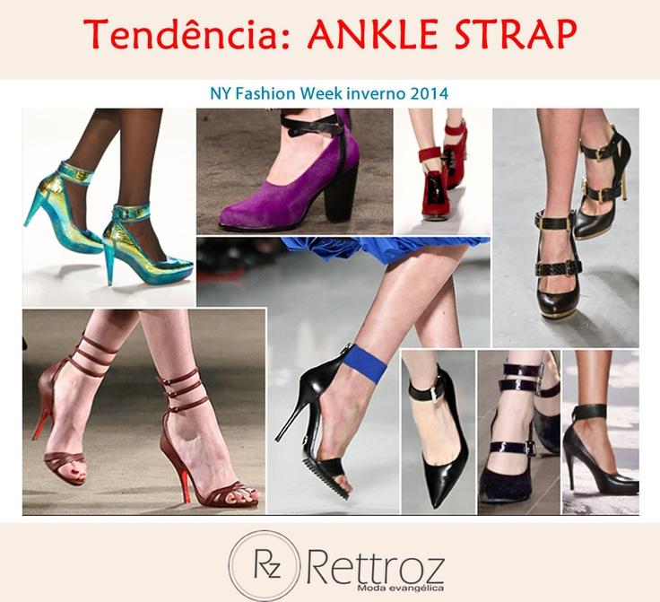 Seja scarpin ou sandália aberta, o sapato hit da temporada de moda outono-inverno 2014 de New York tem uma particularidade, são as tiras no tornozelo, também conhecidas como ankle strap.