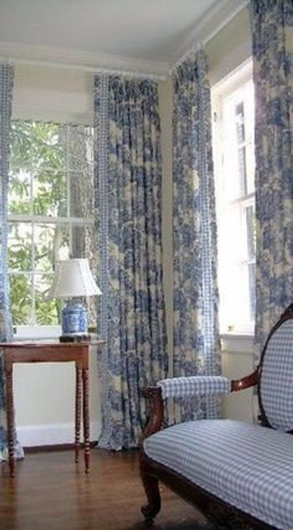 Blue And White Toile Curtains French Country
