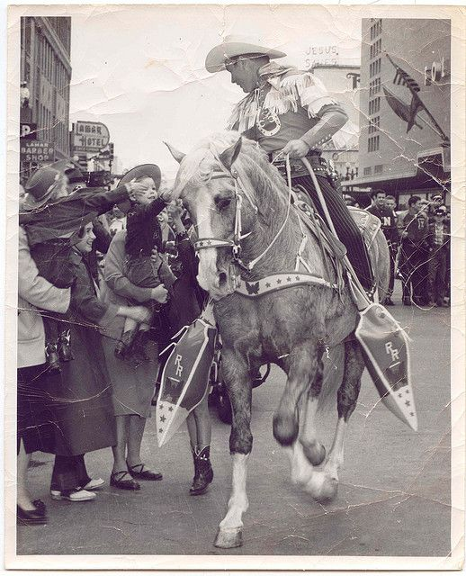 Roy Rogers Riding Trigger in Parade, Houston, Texas 1947