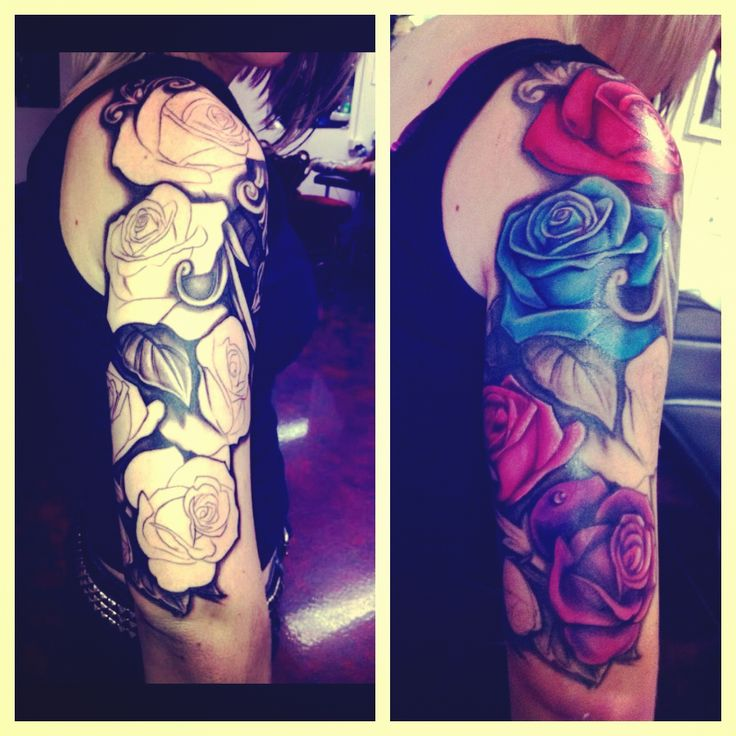 Rose half sleeve tattoo | tattoos | Pinterest