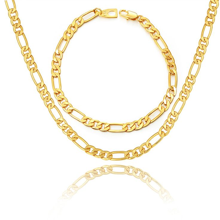 Real Gold Plated Necklace Set Wholesale Factory Price 3 Sizes New Trendy Figaro Chain Necklace Bracelet Men Jewelry Set