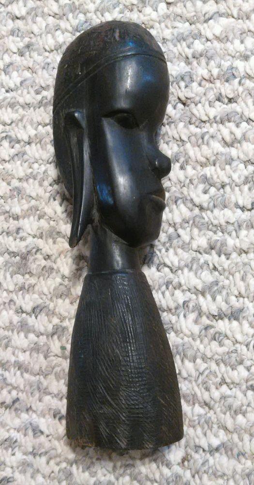 Vintage African Head Wood Carving 1961 1960 Tanganyika