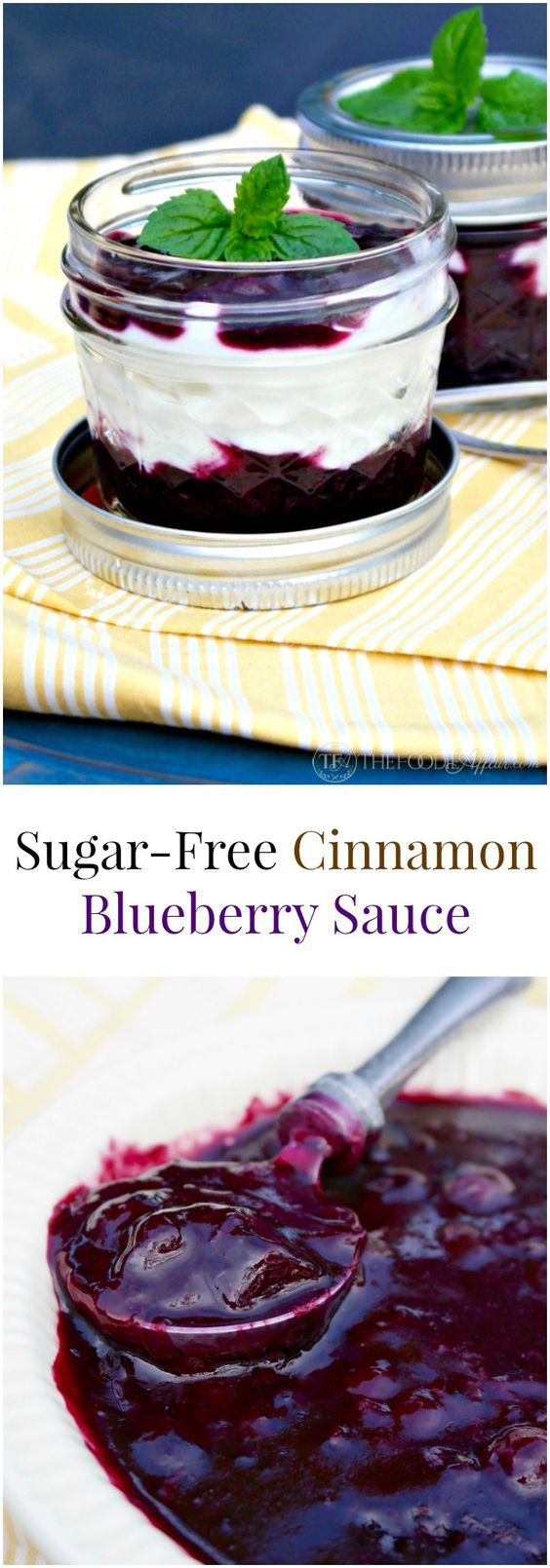 This all purpose cinnamon blueberry sauce is made without sugar! Add to pancakes, waffles, yogurt or use it as a filling for pie!