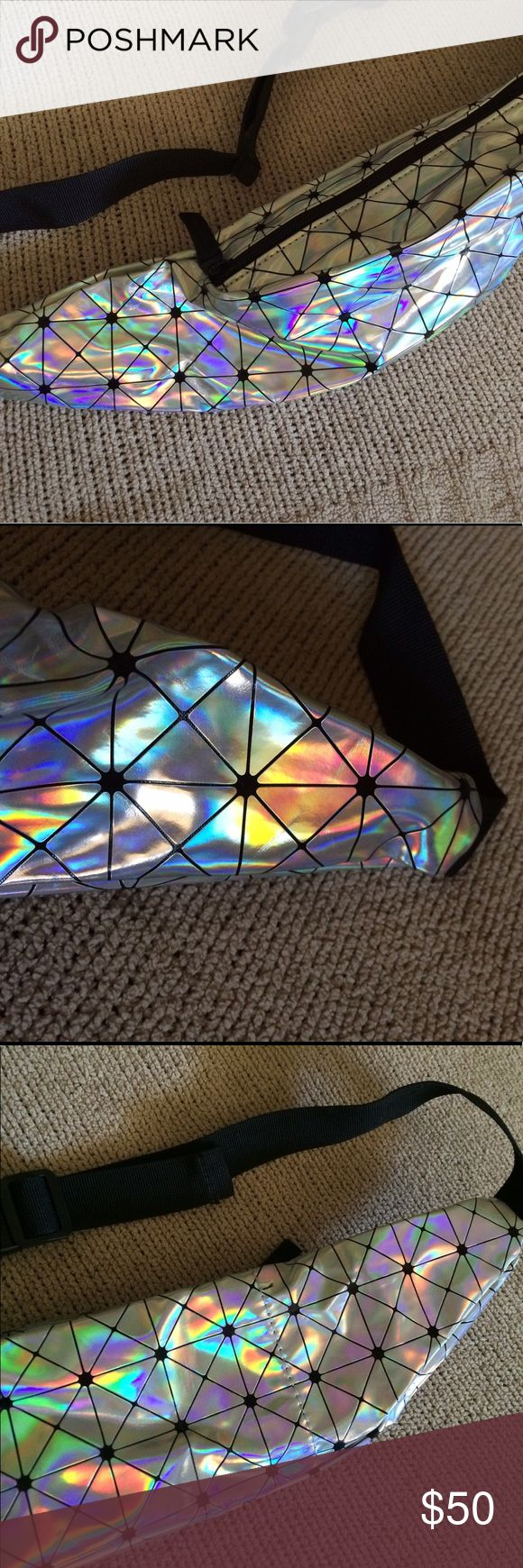💥SALE Iridescent prism✨ festival fanny pack! 🆕 Brand new and never worn fanny pack! Holds a lot for its compact size and is a shiny silver iridescent color! Features black prisms and is perfect for your next music festival, rave, etc :-) made from vegan leather 💓 ✅UNIF for exposure UNIF Accessories