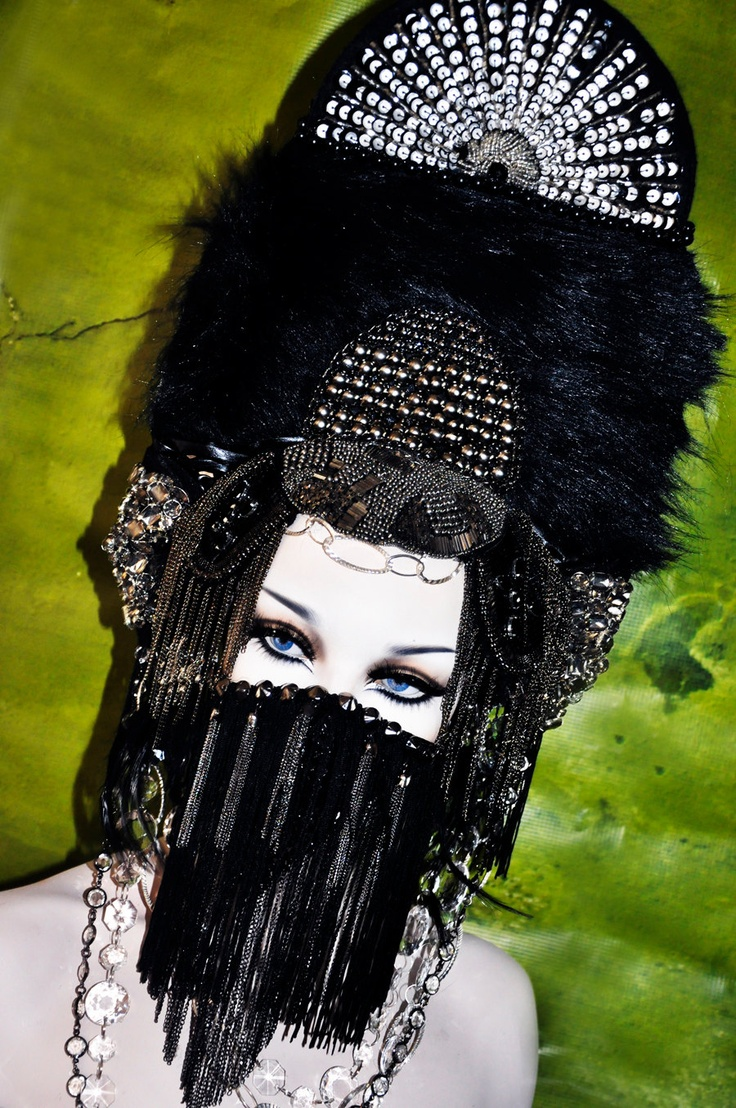 Holy shit this thing is epic!!!  MADE TO ORDER goth headdress headpiece steampunk burning man face mask chain. $439.00, via Etsy.