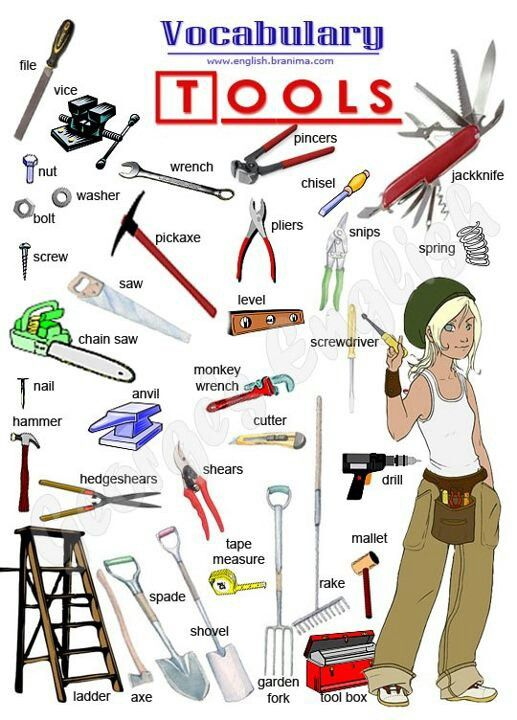 EwR.Poster #English Vocabulary - Tools - Repinned by Chesapeake College Adult Ed. We offer free classes on the Eastern Shore of MD to help you earn your GED - H.S. Diploma or Learn English (ESL) . For GED classes contact Danielle Thomas 410-829-6043 dthomas@chesapeake.edu For ESL classes contact Karen Luceti - 410-443-1163 Kluceti@chesapeake.edu . www.chesapeake.edu