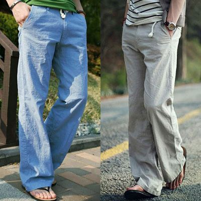 Summer men's linen pants male fashion loose breathable linen pants trousers male M L XL XXL XXXL