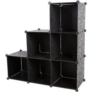 [neu.holz] Guardaroba a 6 scomparti Sistema di scaffali (110cm x 110cm x 37cm) (nero) Scaffalatura in polipropilene Scaffale pieghevole Scaffale per gli abiti Scaffale per la biancheria Nero a 6 scomparti 27,80 €