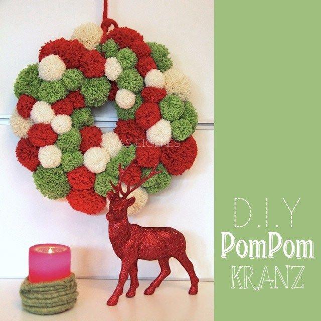 DIY   Pompom Kranz   wreath   Anleitung   tutorial   christmas crafts project   waseigenes.com
