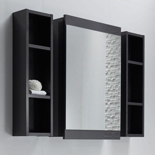 Soji Mirror Cabinet 500 and two 200 Open Shelf Units Exochique Graphite
