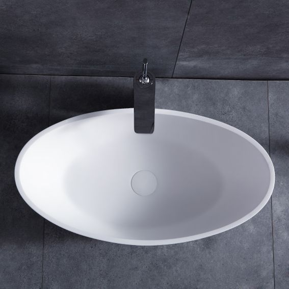 Matte White Oval Stone Resin Vessel Sink Add This Beautiful Addition To Your Bathroom Modern Oval Sink Wash Basin