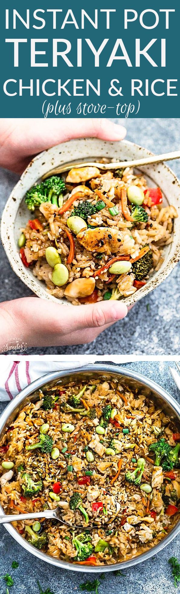 Instant Pot Teriyaki Rice with Chicken and Vegetables is the perfect easy weeknight meal. Best of all, everything cooks up in just ONE pan {plus bonus Instant Pot pressure cooker instructions} and has all the flavors of your favorite takeout restaurant dish. A great Sunday meal prep recipe for your work or school lunchbox or lunch bowl and way better than takeout!