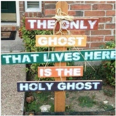 """Best Halloween decoration I have EVER seen! DOING IT FOR SURE! """"There's no party like a Holy Ghost party!"""" Woop!"""