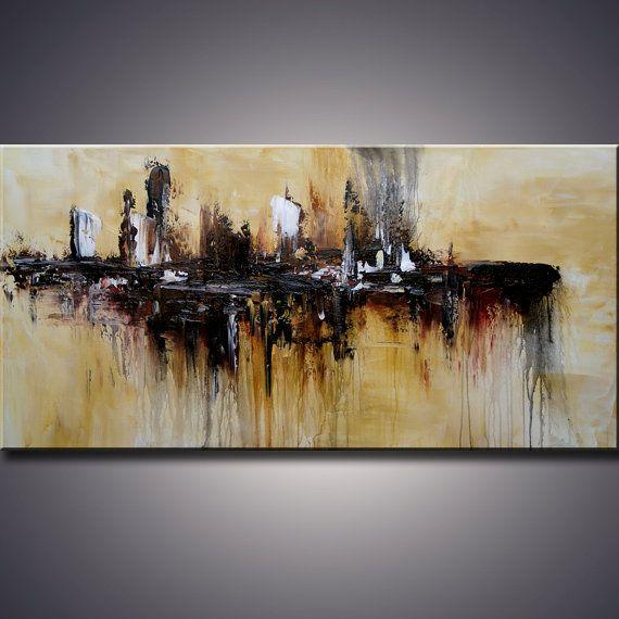 Hecho a mano grande abstracta moderna por ModernArtHomeDecor