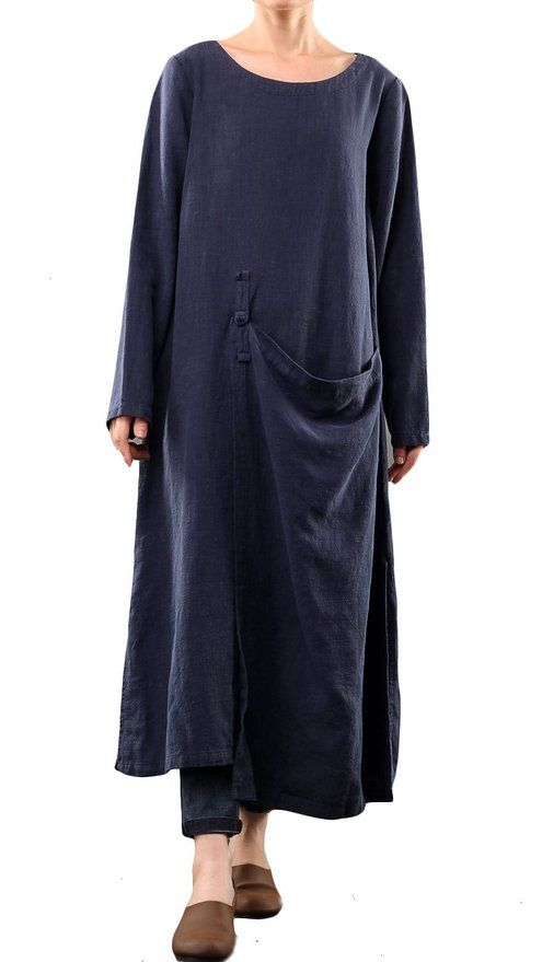 Mordenmiss Women's Long Sleeve Cotton Linen Dress Fall Clothing Blue