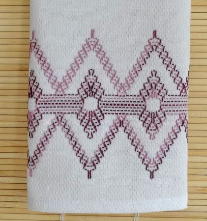Tea Towel Dish Towel Swedish Weaving in Grape Swirl Color