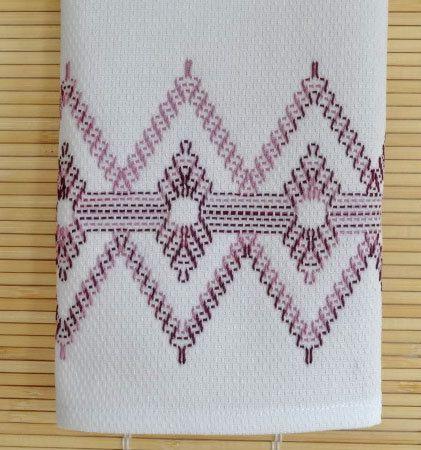 Tea Towel Dish Towel Swedish Weaving in Grape Swirl Color