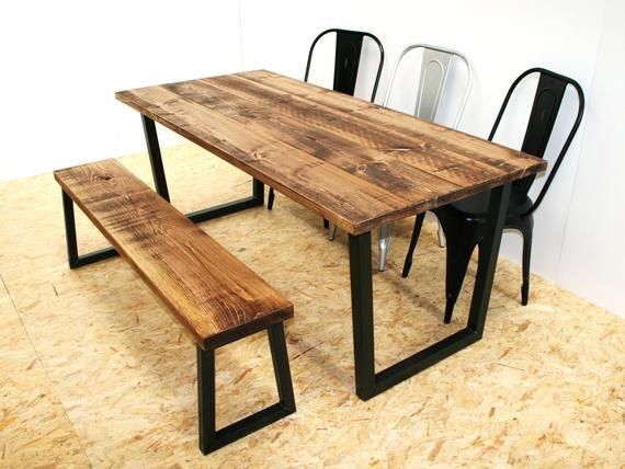 Rustic Dining Table And Bench Black Metal Legs Etsy Dining Table Rustic Dining Table Industrial Dining Table