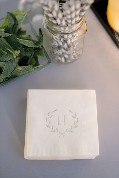 monogram + laurel napkins | Tim Will #wedding