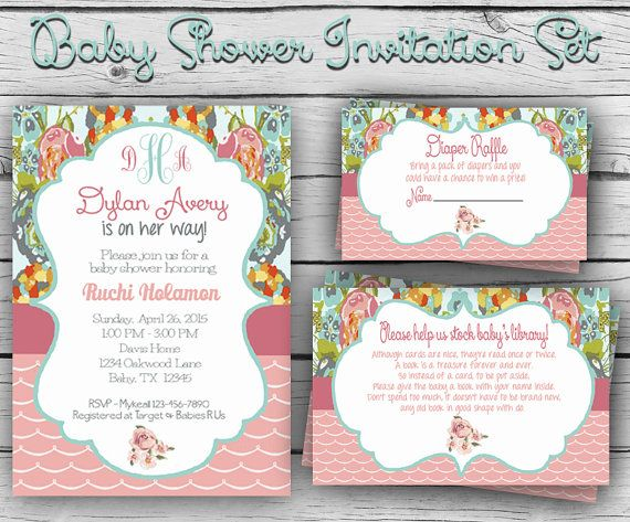 FLORAL BABY SHOWER Invitation Set, Girl Baby Shower, Boy Baby Shower, Party, Sports Baby Shower, Digital & Printable file