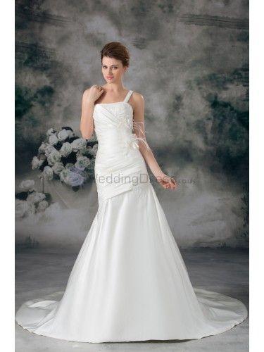 Satin One-Shoulder Sweep Train Sheath Feather Wedding Dress