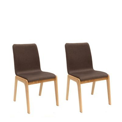 Pair Of Brown Willow Upholstered Dining Chairs With Oak Legs ChairsDebenhamsDining Room