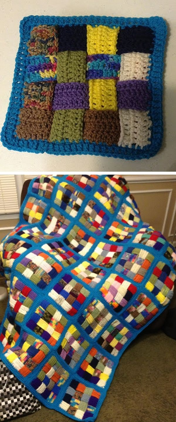 Woven-square scrap afghan, by Tami of A Simple Country Gal. She gives good basic general instructions of how she made this starting with crocheting short strips, which is a great way to use up odd small scraps. I think the blue joining and border give a nice unifying effect to the mosaic of colorful scraps. It reminds me of a quilt. . . . . ღTrish W ~ http://www.pinterest.com/trishw/ . . . . #crochet #blanket #throw