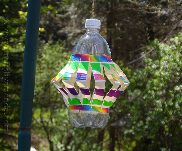 Recycled plastic bottle wind spinner recipe recycle for Recycled water bottle crafts for kids