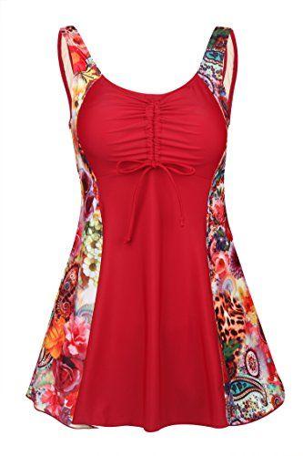 12.89$, Uhnice Women's Plus Size One Piece Swimdress Skirted Swimsuit Bathing Suits, http://secretofdiva.com/product/uhnice-womens-plus-size-one-piece-swimdress-skirted-swimsuit-bathing-suits/