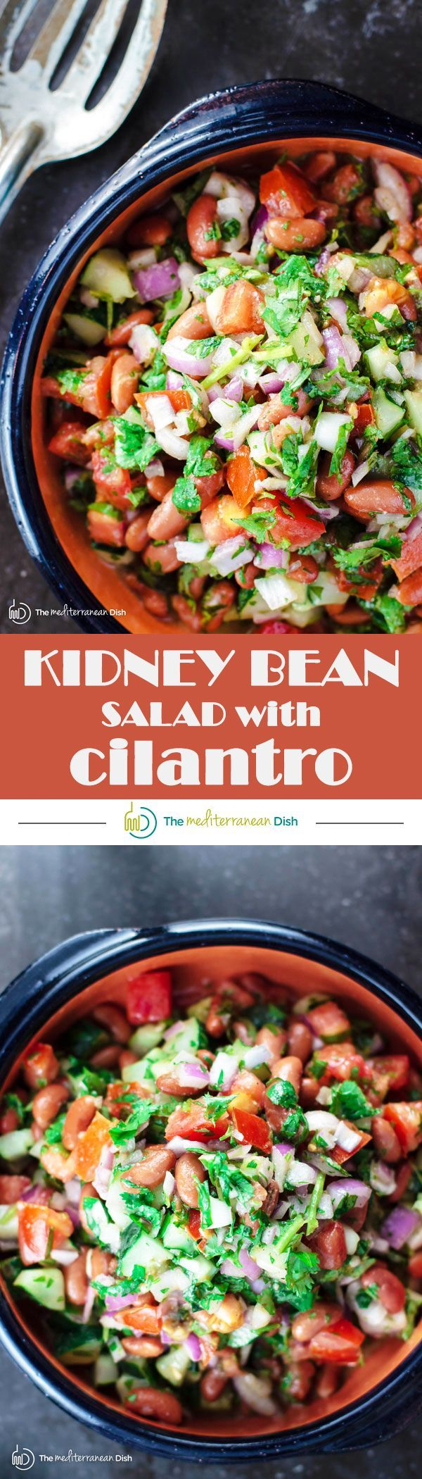 "Kidney Bean Salad with Cilantro and Dijon Vinaigrette | The Mediterranean Dish. BuzzFeed calls this salad, ""incredible!"" A simple and tasty salad of kidney beans, chopped cucumbers, tomatoes and red onions with cilantro, sumac and a zesty Dijon vinaigrette. It will be your new favorite!"