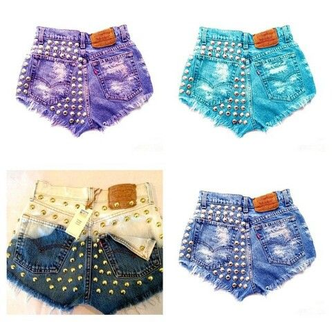 Studded shorts, purple, blue, navy, and cream two toned