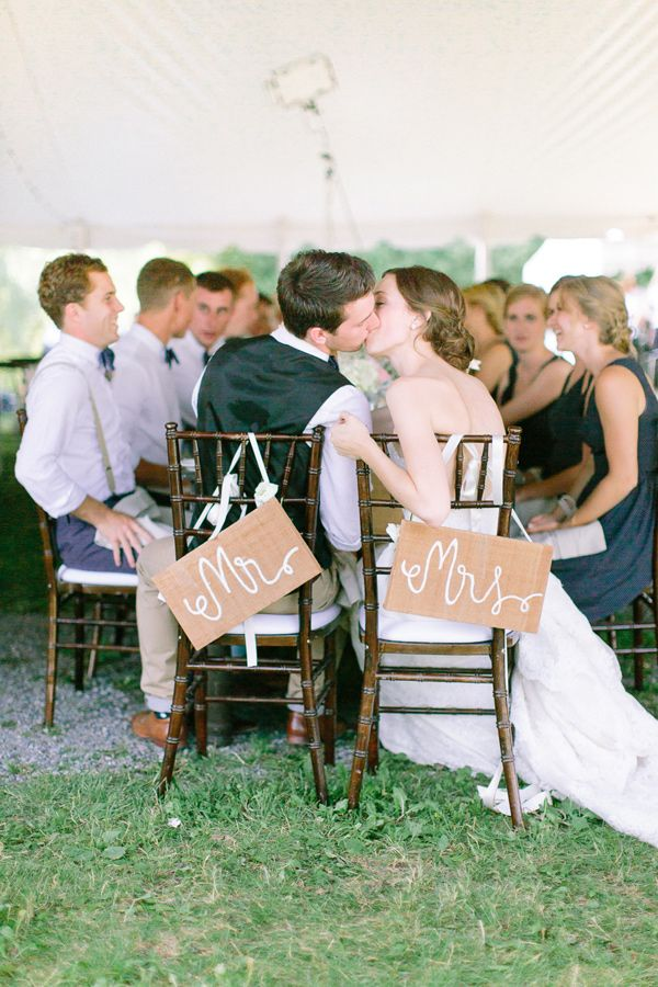 Mr and Mrs chairs, photo by When He Found Her http://ruffledblog.com/brooklands-farm-wedding #weddingideas #reception #signs