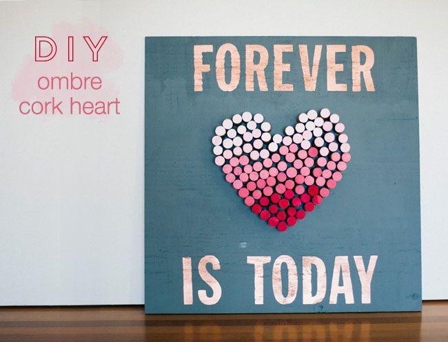 DIY: Ombre Cork Heart