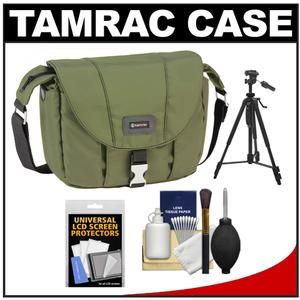 Another great product: Tamrac 5422 Aria 2 Compact DSLR / ILC Camera Shoulder Bag (Moss Green) with Tripod + Cleaning Kit The Tamrac 5422 Aria 2 Compact DSLR / ILC Camera Shoulder Bag is made from a rich  smooth  water-resistant nylon fabric. The front flap with metal buckle closure covers the zippered main compartment while the zippered  pleated front pocket expands to hold equipment. Two slim side pockets hold accessories while an open back pocket keeps a manual handy. Fits: